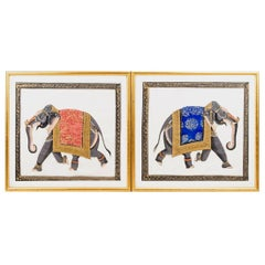 Two Elephants, Mixed Technique on Paper, 1950s