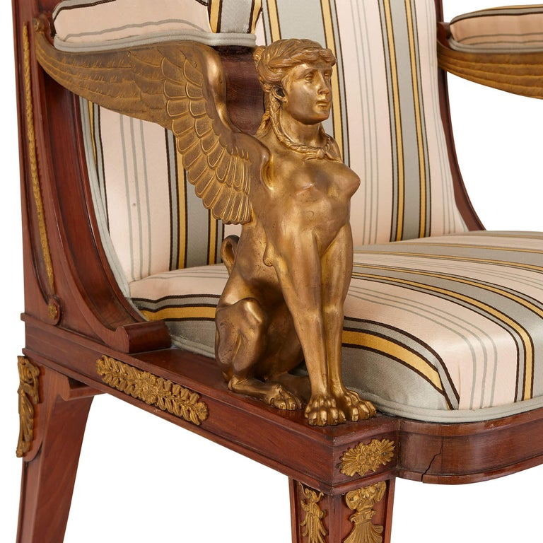 Two Empire Style Mahogany Armchairs with Gilt Bronze Mounts For Sale 1