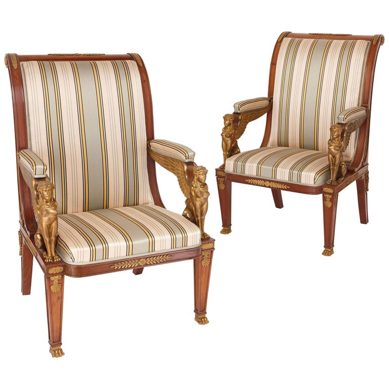 Two Empire Style Mahogany Armchairs with Gilt Bronze Mounts For Sale