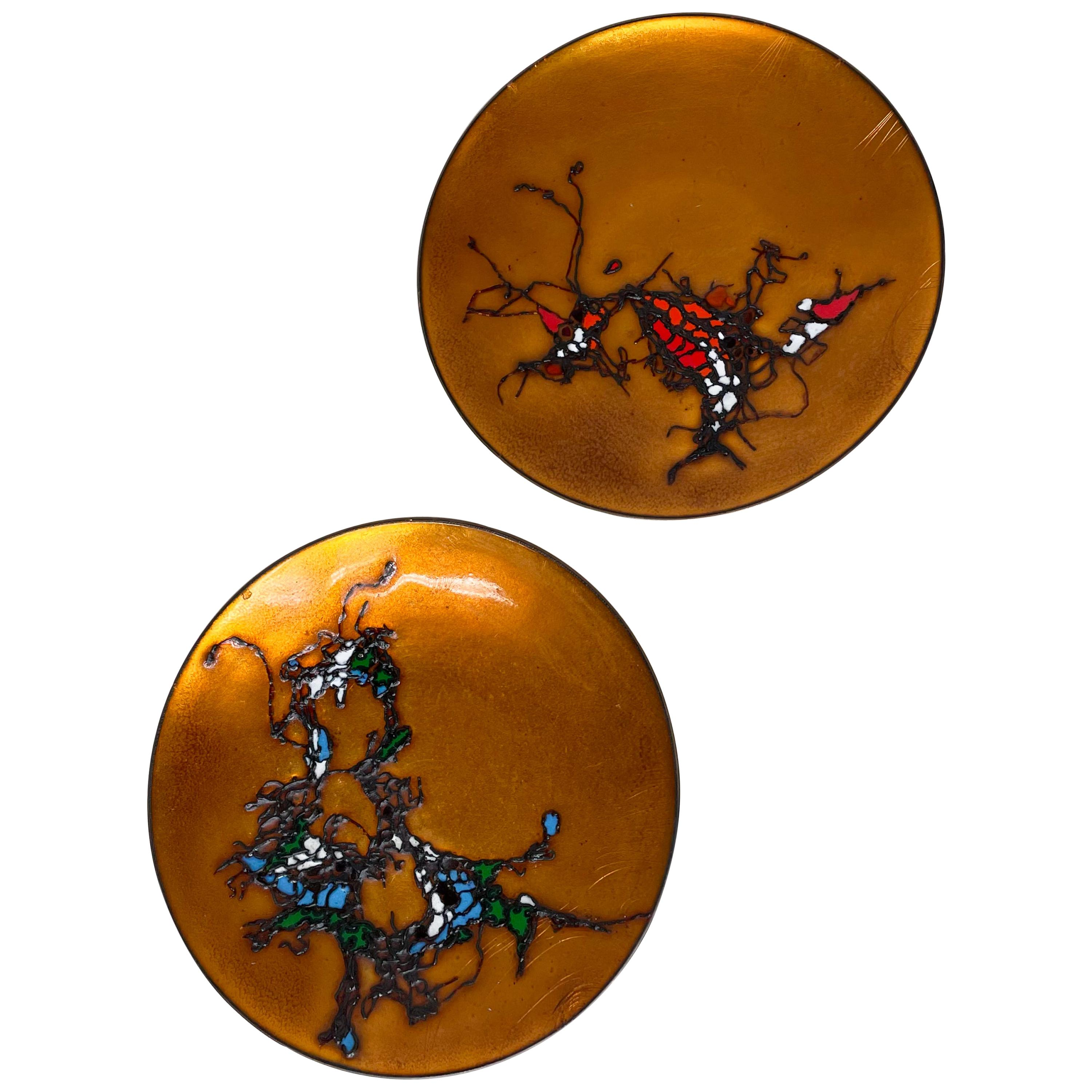 Enamel on Copper (2) Petite Plates Abstract Design by artist Margot Dohan 1960s