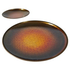 Two Enameled Copper Trays / Plates by David Andersen, Norway 1960s