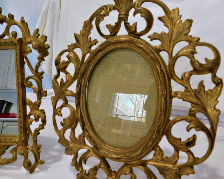 Rococo Two English 19th Century Gilt Bronze Antique Table Vanity Mirrors and Oval Frame For Sale