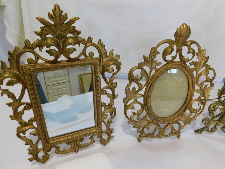 Two English 19th Century Gilt Bronze Antique Table Vanity Mirrors and Oval Frame For Sale 1