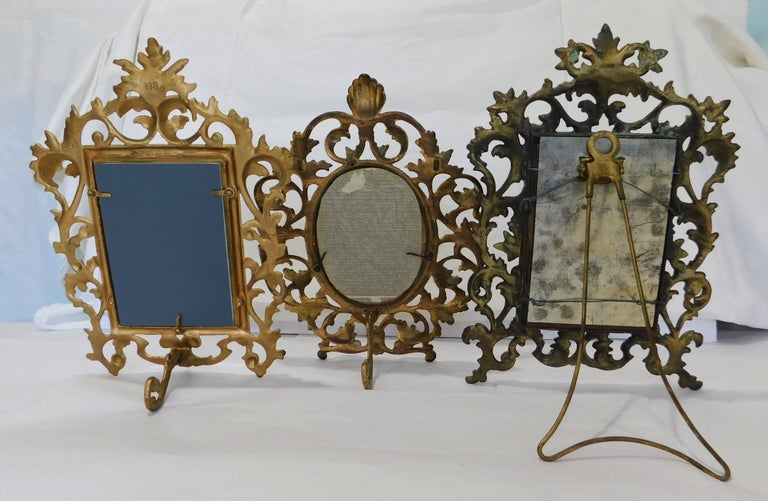 Two English 19th Century Gilt Bronze Antique Table Vanity Mirrors and Oval Frame For Sale 2