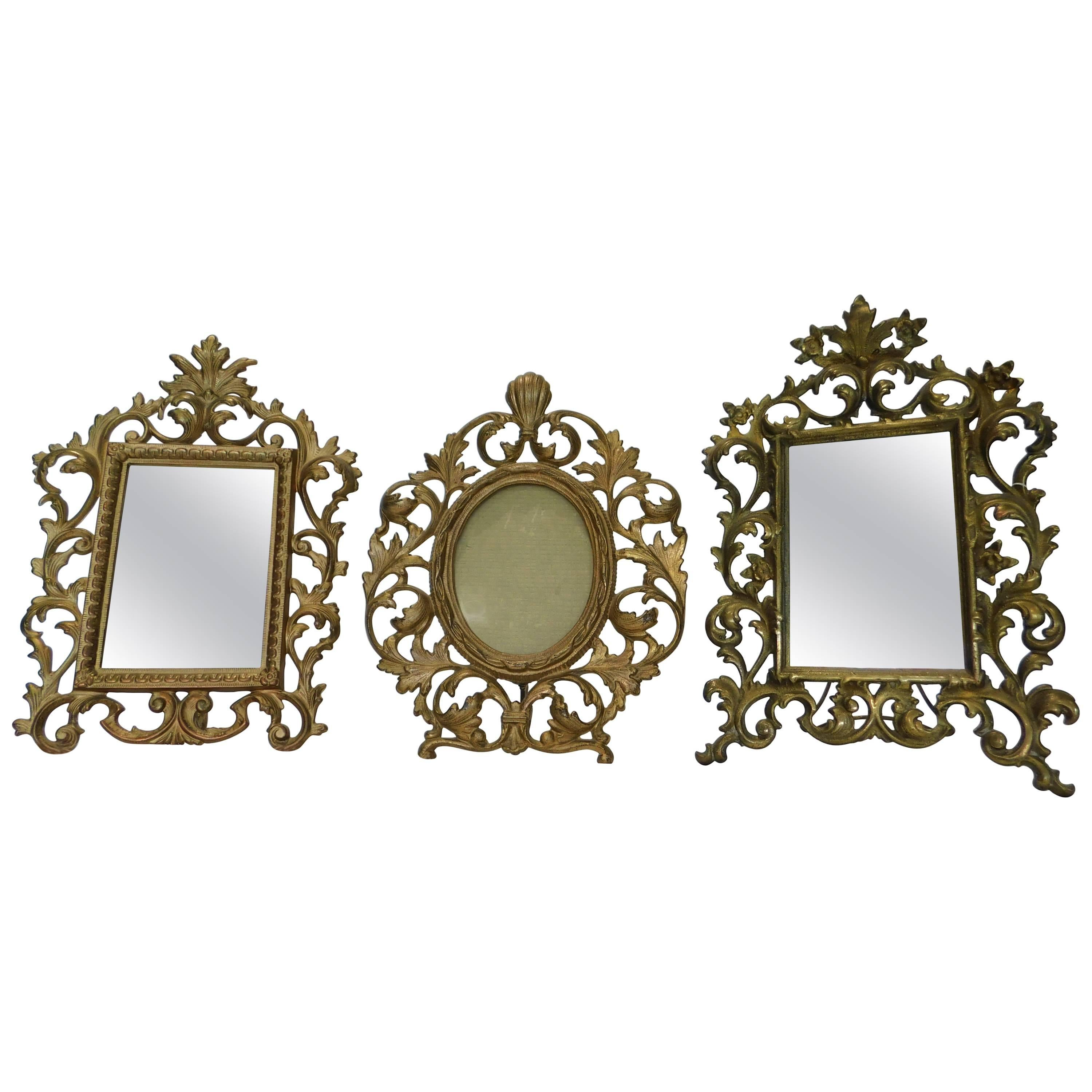 3 English 19th Century Gilt Bronze Antique Table Vanity Mirrors and Oval Frame