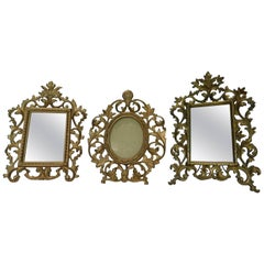 Two English 19th Century Gilt Bronze Antique Table Vanity Mirrors and Oval Frame