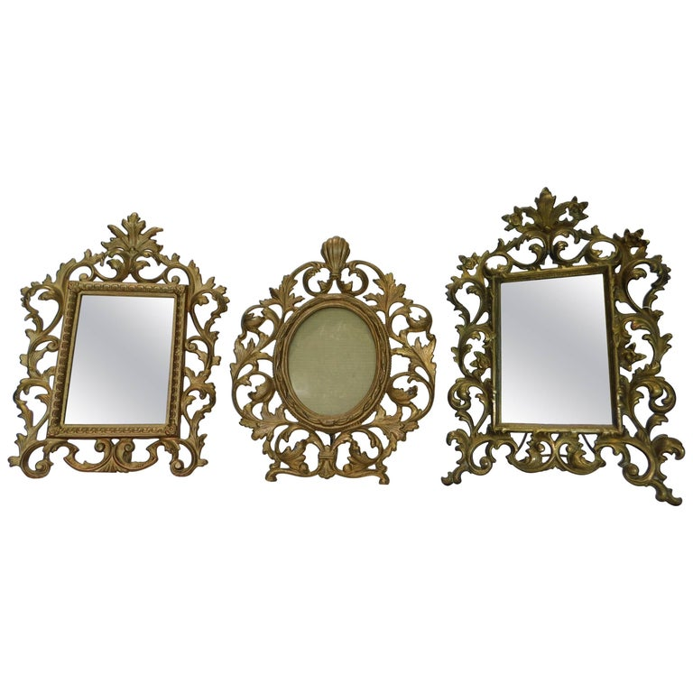 Two English 19th Century Gilt Bronze Antique Table Vanity Mirrors and Oval Frame For Sale
