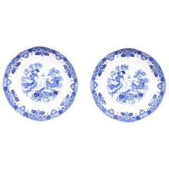 Two English Blue and White Copeland Spode Decorative Plates, Late 19th Century