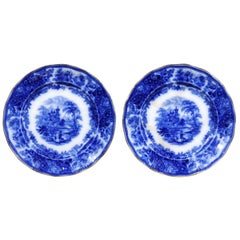 Two English Burgess & Leigh Middleport Plates with Flow Blue Nonpareil Patterns