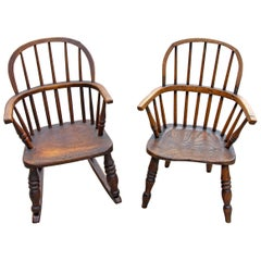 Two English Elm Windsor Children's Chairs