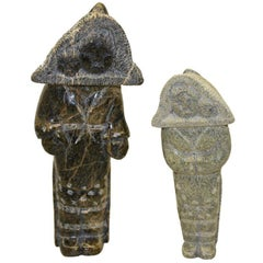 Two Eskimo Inuit Carvings of Women Wearing Amauti by Youtie Sudloo