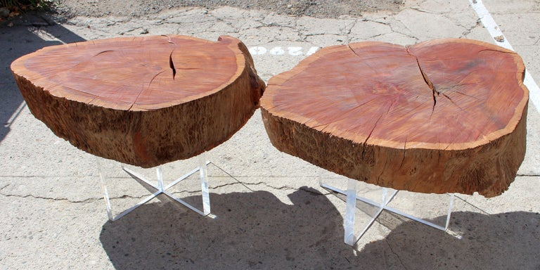 Wood Two Eucalyptus Side Table For Sale