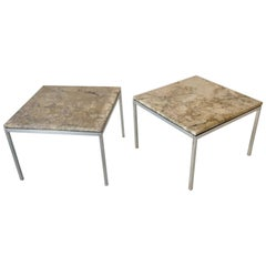 Two Exotic Stone Top Florence Knoll Side Tables One Chrome One Satin Finish Base