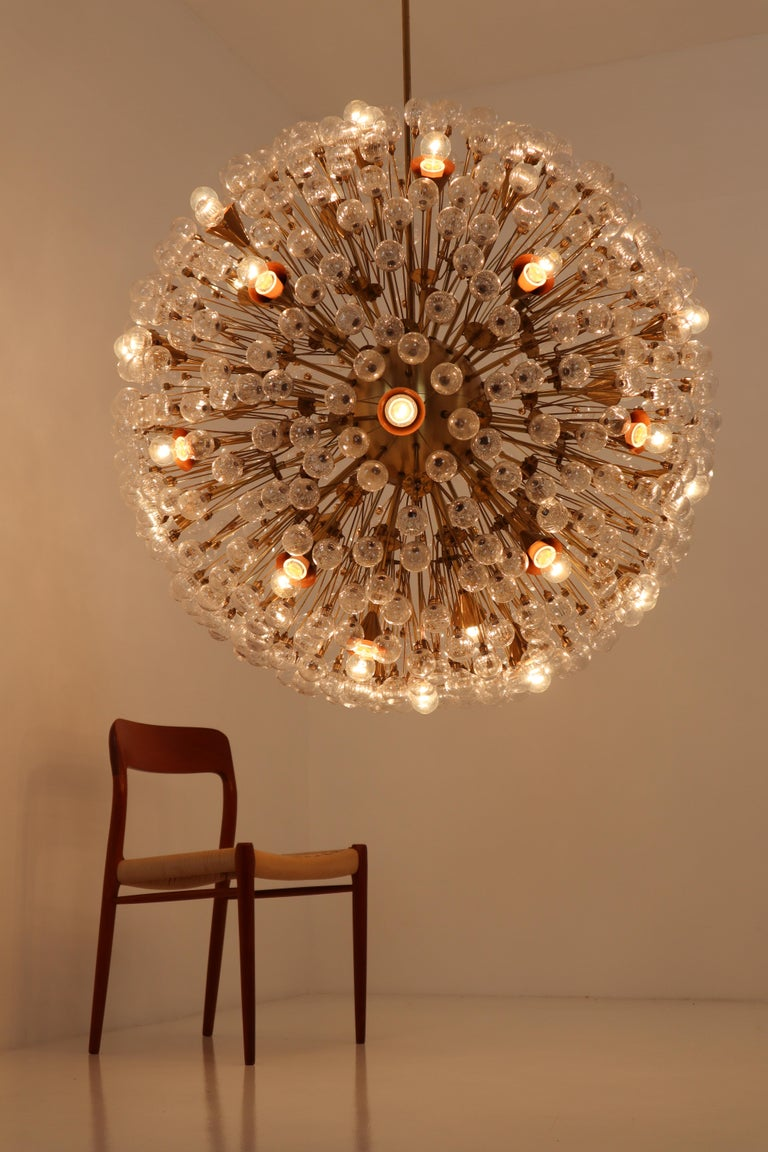 Mid-Century Modern Extreme Large Mid-Century Solid Brass Chandelier with 500 X Handblown Glass For Sale