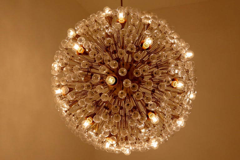 Extreme Large snowflake chandelier in the style of Emil Stejnar for Rupert Nikoll, brass and glass, Austria, 1960s. Has a diameter of 50