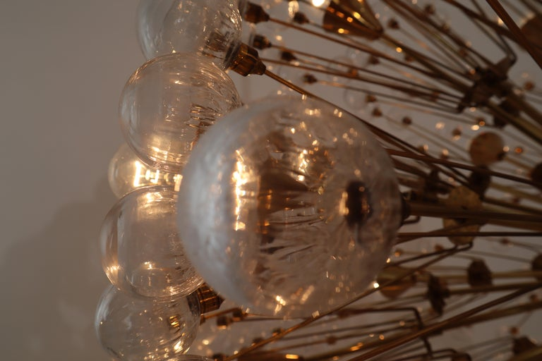20th Century Extreme Large Mid-Century Solid Brass Chandelier with 500 X Handblown Glass For Sale