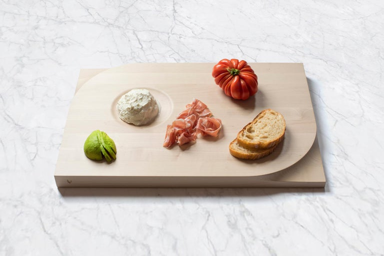 Scandinavian Modern Two-sided Maple Wood Cutting Board and Serving Plate, Rettangolo, Made in Italy For Sale