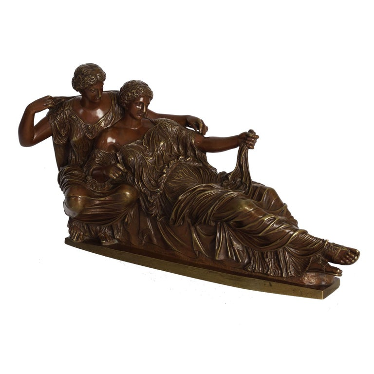 A very nice Grand Tour classical bronze group based on the original sculpture in the east pediment of the Parthenon by the Athenian sculptor Phidias while the missing extremities of that group have been re-imagined by the foundry. It depicts