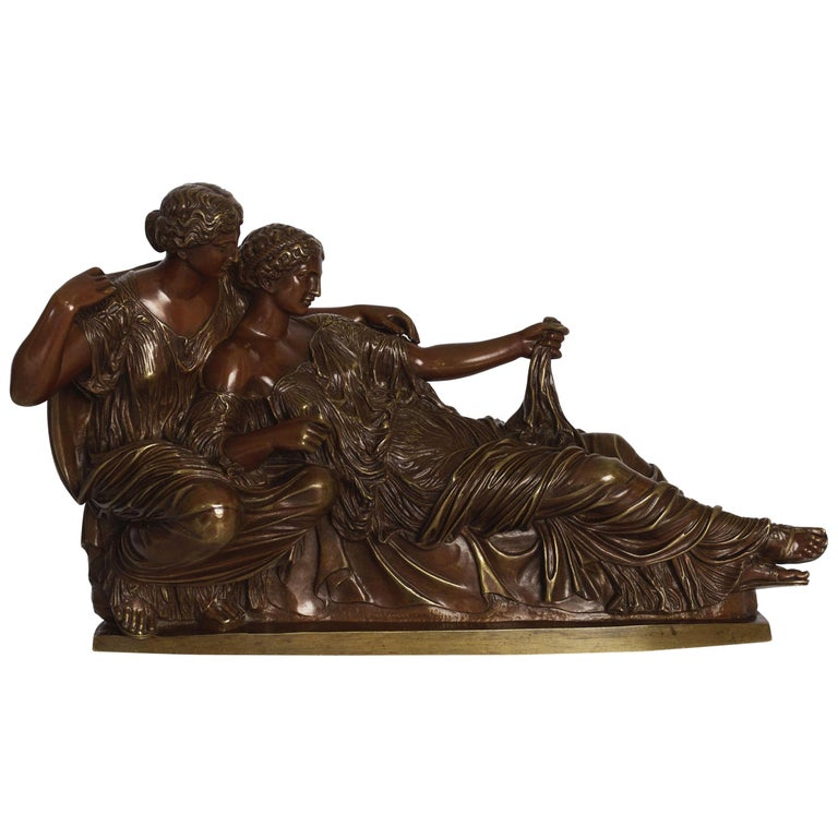 """""""Two Fates"""" German Bronze Sculpture after the Antique Cast by R. Bellair For Sale"""