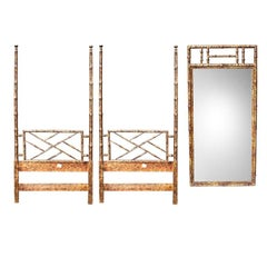 Two Faux Bamboo Twin Bed Headboard Set and Mirror in Tortoise Shell by Henredon