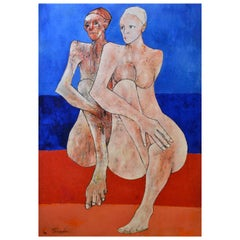 Two Figures Sitting on the Beach, Orange, Sky Blue & Beige Painting, circa 1972