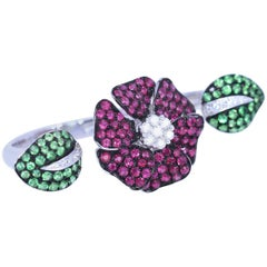Two-Finger Ring Whimsical Diamonds Rubies Emerald Organic Floral White Gold 18k