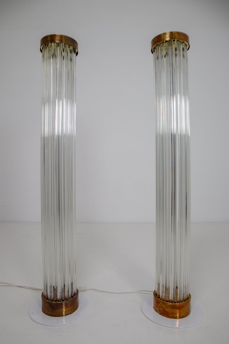 Brass Two Floor Lamps by Fa. Preciosa in Kamenicky Senov, Czechoslovakia in the 1970s For Sale