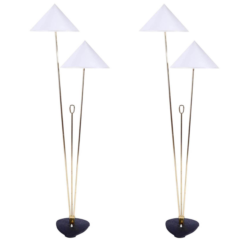 Two Floor Lamps by Rupert Nikoll, Brass Black Cast Metal, Austria, 1950s
