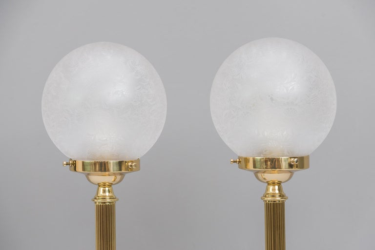 Two floral table lamps jugendstil circa 1908 with original glasses. Original condition Pair price.