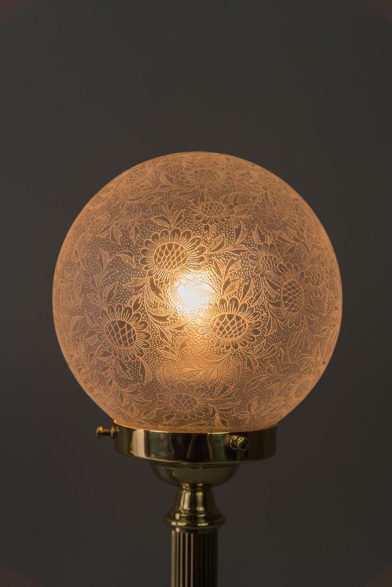 Two Floral Table Lamps Jugendstil circa 1908 with Original Glasses For Sale 2