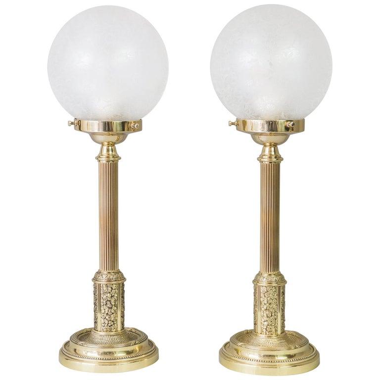 Two Floral Table Lamps Jugendstil circa 1908 with Original Glasses For Sale