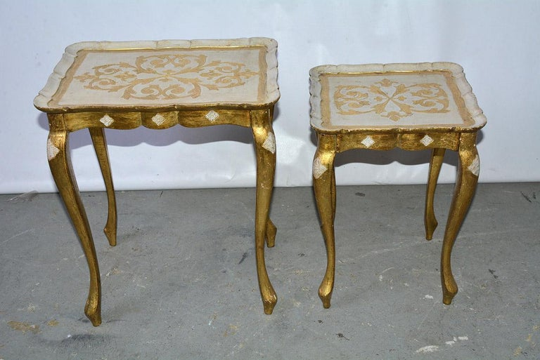 1950s Italian gilt and cream paint decorated wood side table. Minor patina and paint loss. Small side table - D 12.75