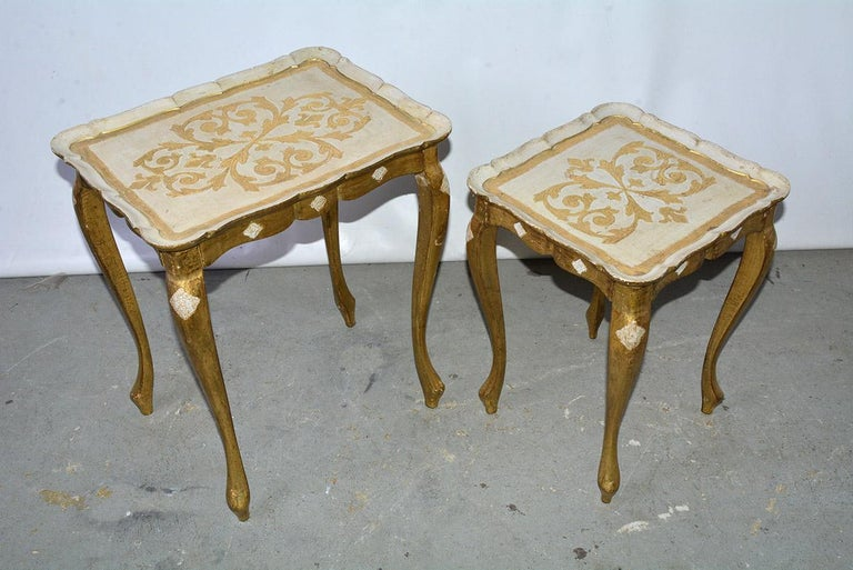 Hollywood Regency Two Florentine Style Side Tables For Sale