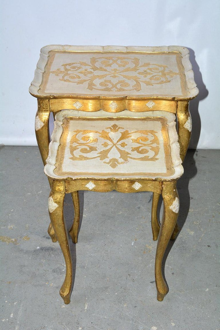 Italian Two Florentine Style Side Tables For Sale