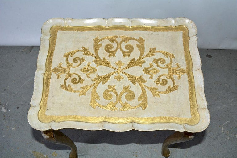 Hand-Crafted Two Florentine Style Side Tables For Sale