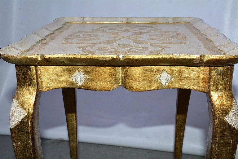 Gold Leaf Two Florentine Style Side Tables For Sale