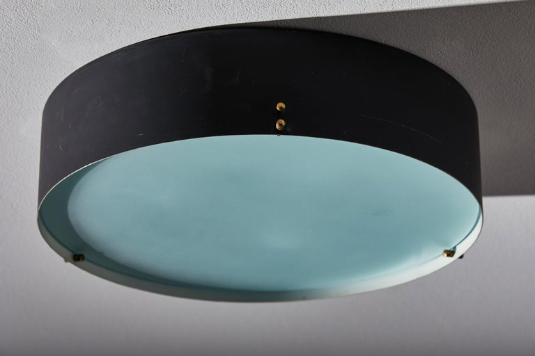 Two Flush Mount Ceiling Lights by Bruno Gatta for Stilnovo In Good Condition For Sale In Los Angeles, CA