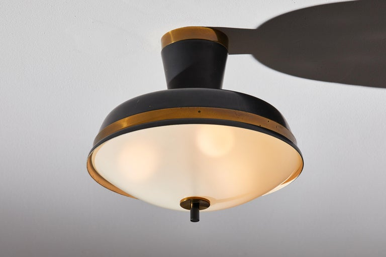 Mid-Century Modern Two Flush Mount Ceiling Lights by Oscar Torlasco for Lumi For Sale