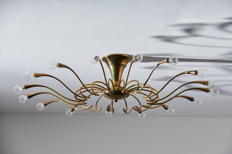Two Flush Mount Chandeliers by Oscar Torlasco In Good Condition For Sale In Los Angeles, CA