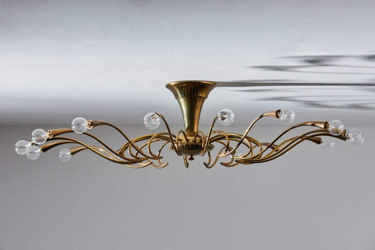 Mid-20th Century Two Flush Mount Chandeliers by Oscar Torlasco For Sale