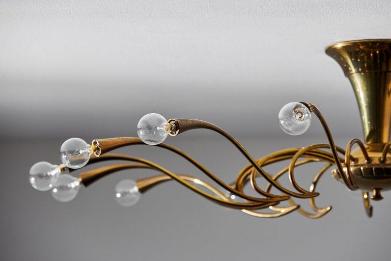 Brass Two Flush Mount Chandeliers by Oscar Torlasco For Sale