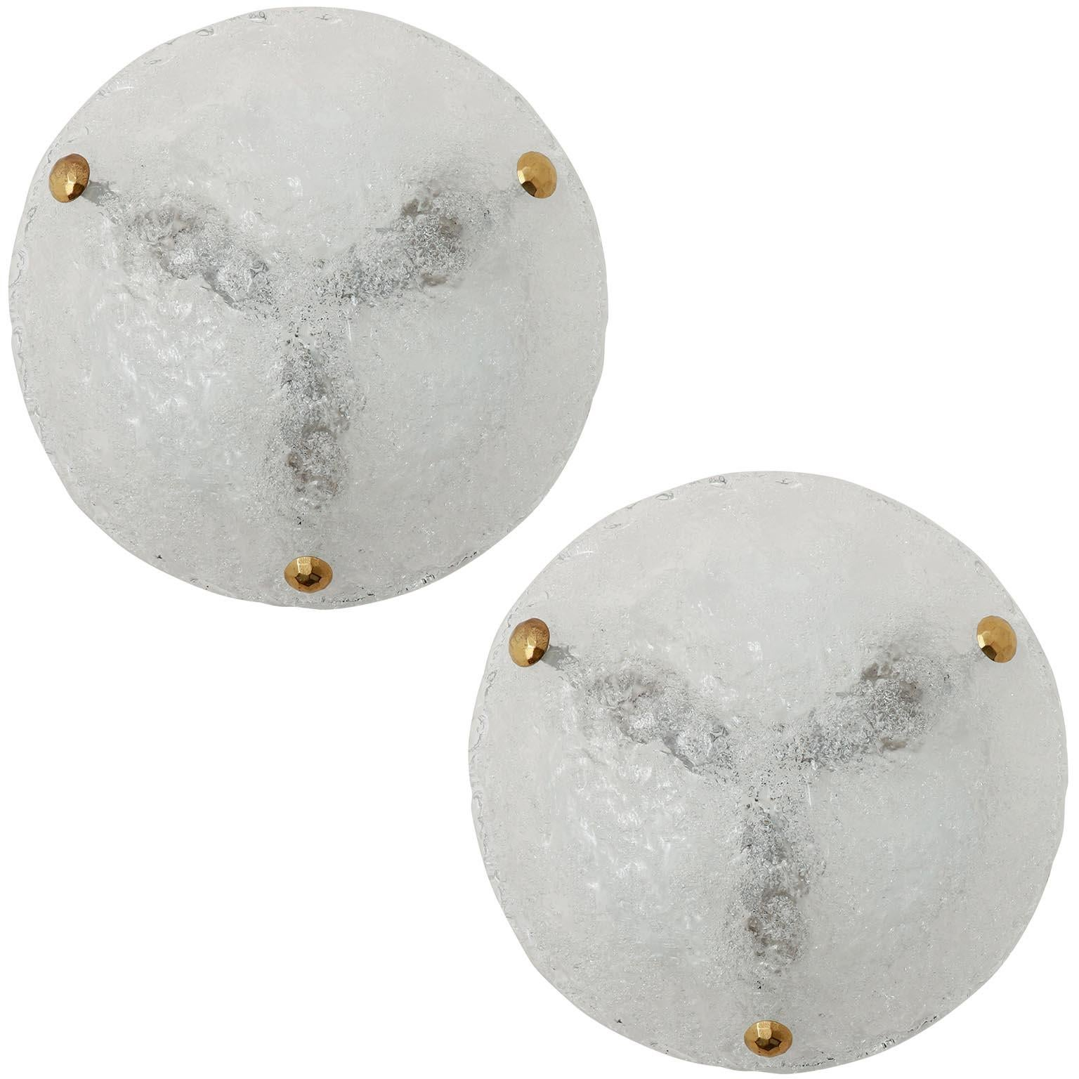 Two Flush Mount Lights or Sconces by Hillebrand, Brass Glass, 1960s