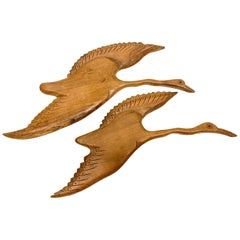 Two Flying Ducks Birds Wood Carved Wall Decoration Vintage, 1950s