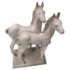 Two Foals from Karlsruhe Majolica Ceramic by Else Bach, 1960s