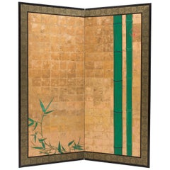 Two Fold Gold Japanese Screen with Bamboo Motif, 19th Century