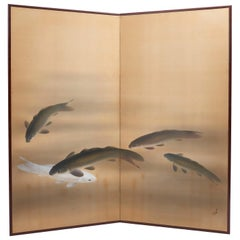 Two-Fold Japanese Screen of Koi Carps on Pale Ground, Early 20th Century