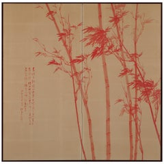 Two-Fold Japanese Screen, Vermilion Bamboo Winter, 1951