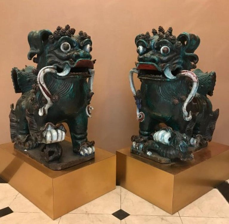 Two Foo Dogs In Fair Condition For Sale In London, GB