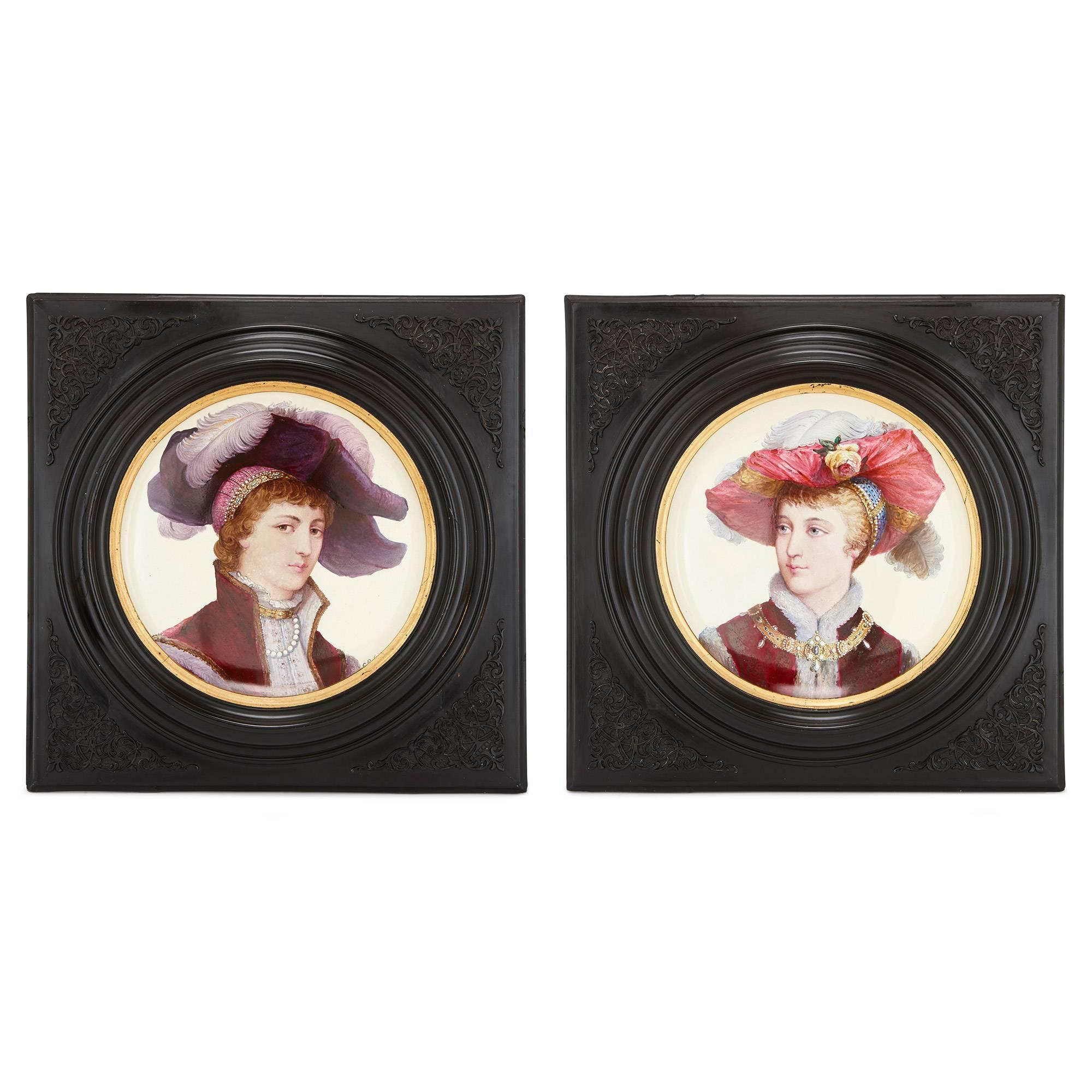Two Framed Antique Faience Chargers by Montereau