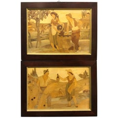 Two Framed Italian Wood Inlays, circa 1880